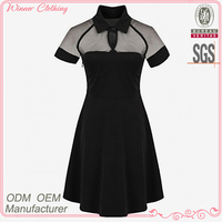 Simple fashion hot selling slim fit Criss-Cross black mesh England style summer dress 2015 woman