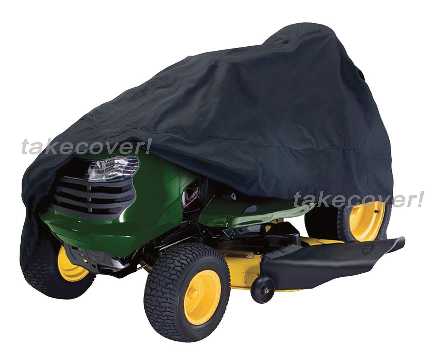 """Deluxe Riding Lawn Mower Tractor Cover Fits Decks up to 55"""" Black - Water Mildew & UV Resistant Storage Cover"""