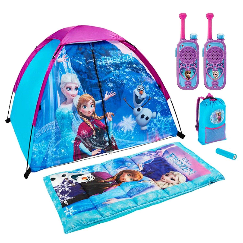 Disney Frozen 6 Piece Kids Camp Kit - Indoor / Outdoor Play Tent, Sleeping Bag, Carry/Storage Bag, LED Flashlight and Walkie Talkies
