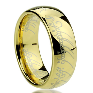 Simple gold ring designs Magic letters lord of the ring titanium