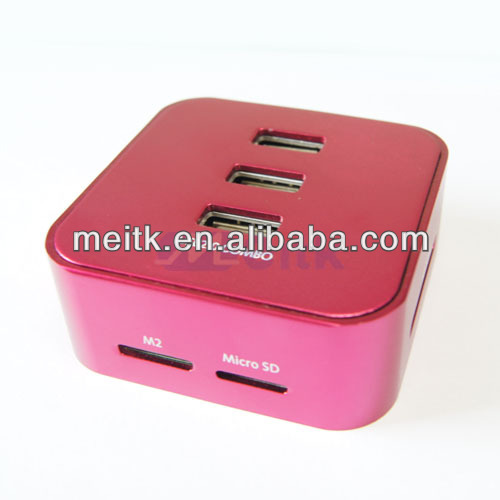 USB 2.0 HUB Smart Card Reader Combo for SD/MMC/M2/MS MP-All In One