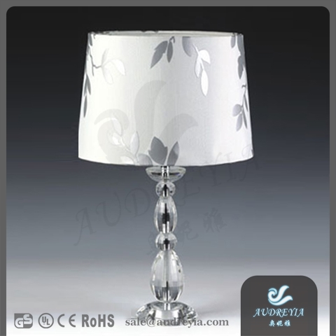 hotel European clear glass luxury crystal metal table lamp with pleated fabric shade
