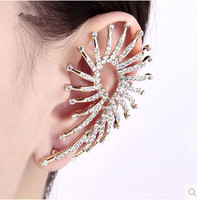 fashion gold plated crystal ear cuff wrap earrings