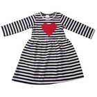 Black And White Stripe Red Heart Printed Long Sleeves Toddler Girl Dresses Rotate High Waist Baby Dresses