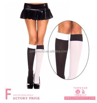8181ccb24e3f Patterned Checkered Socks Black And White Knee High Socks - Buy ...