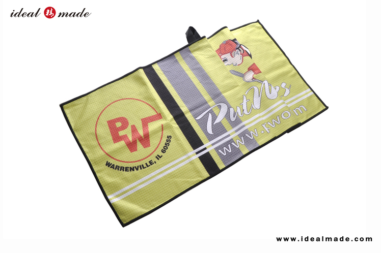 Wholesale Personal  Logo Full Sublimation Print Golf  Promotion Towel Microfiber Waffle350gsm 15*24inch or Custom Size