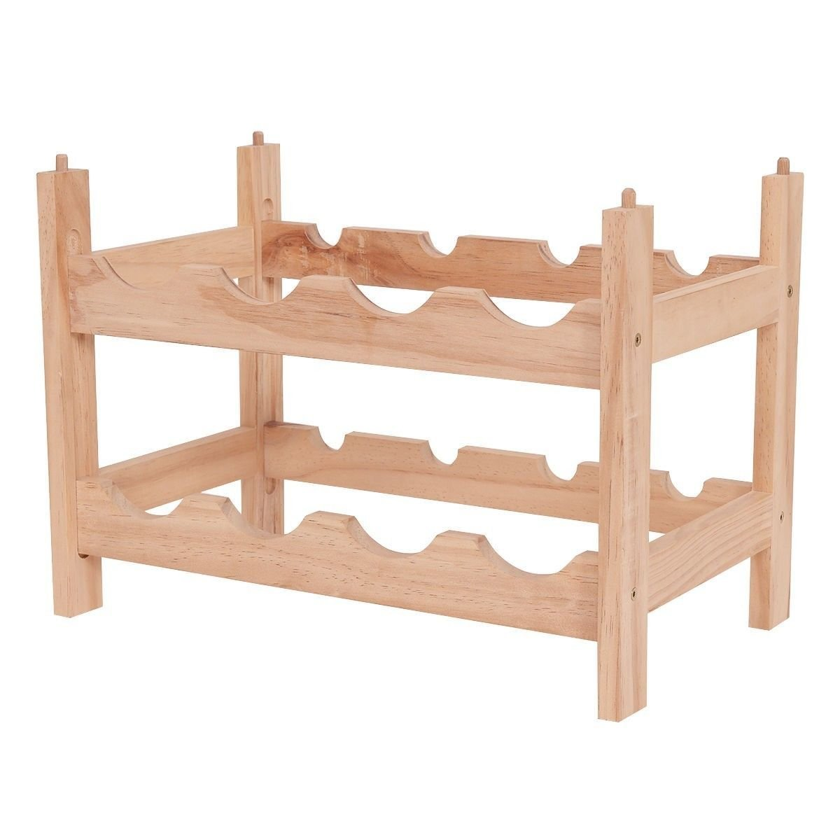 RX-789 Vintage 2 Tier 8 Bottle Natural Wood Wine Rack Holder Storage Display Shelf Tool