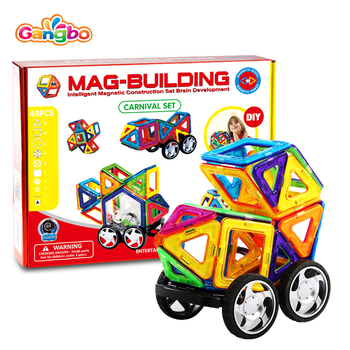 48pcs Magnetic Tiles Set Creative Magnet Building Blocks Set Preschool Educational Construction Kit Toys