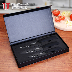 Professional ceramic knife set 3 pieces 3'4'5' black blade for kitchen with ABS+TPR handle