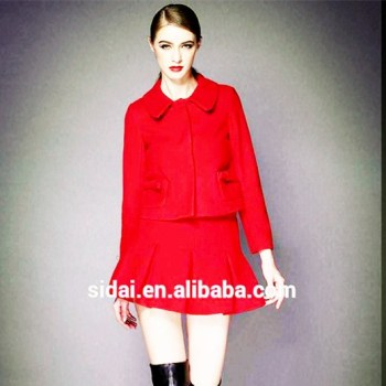 Fall Winter Famous Brand Morden Women Business Wool Red Suit Or