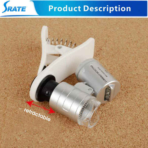 Pocket Microscope  60x With Led UV Light  For Identify Money Easy To Take