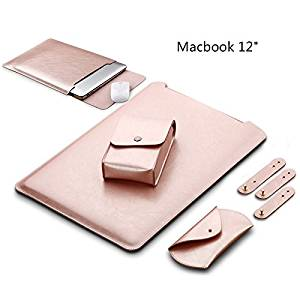 LAPOND Waterproof Sleek Leather MacBook Sleeve 12 Inch , Soft Sleeve Case Cover Bag for MacBook 12-inch (Rose Gold)