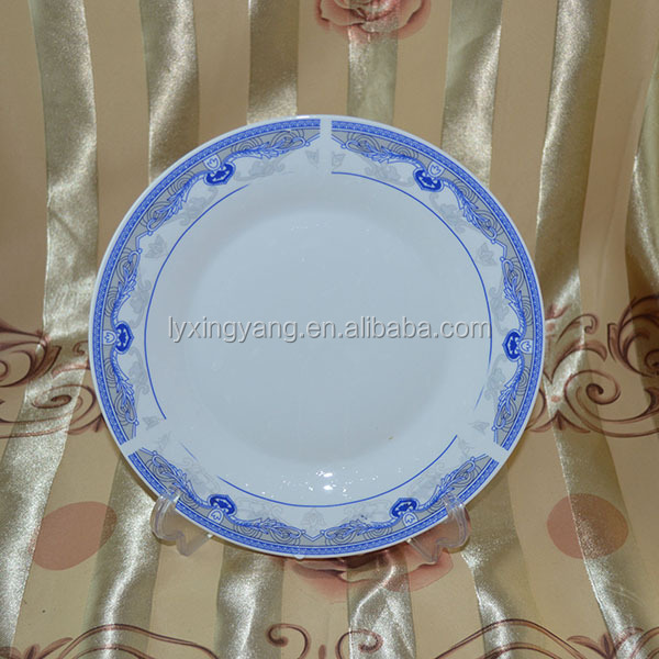 wholesale high grade ceramic dinnerware porcelain moonlight flat plate with double golden line-095
