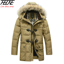 2013 BRAND Down Jacket Winter Jacket Men Coat 90% White Duck Long Thicken Outwear Hooded Real  Fur Men's Parka Big Size 4XL