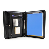 Executive PU leather business portfolio hanging zipper 2 ring binder file folder for documents organizer tote bag