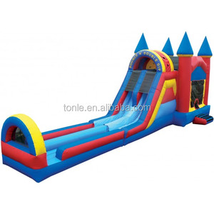 Inflatable Non Slip Wet & Dry Bounce N Double Dip Castle with Landing, kids bouncer house combo,