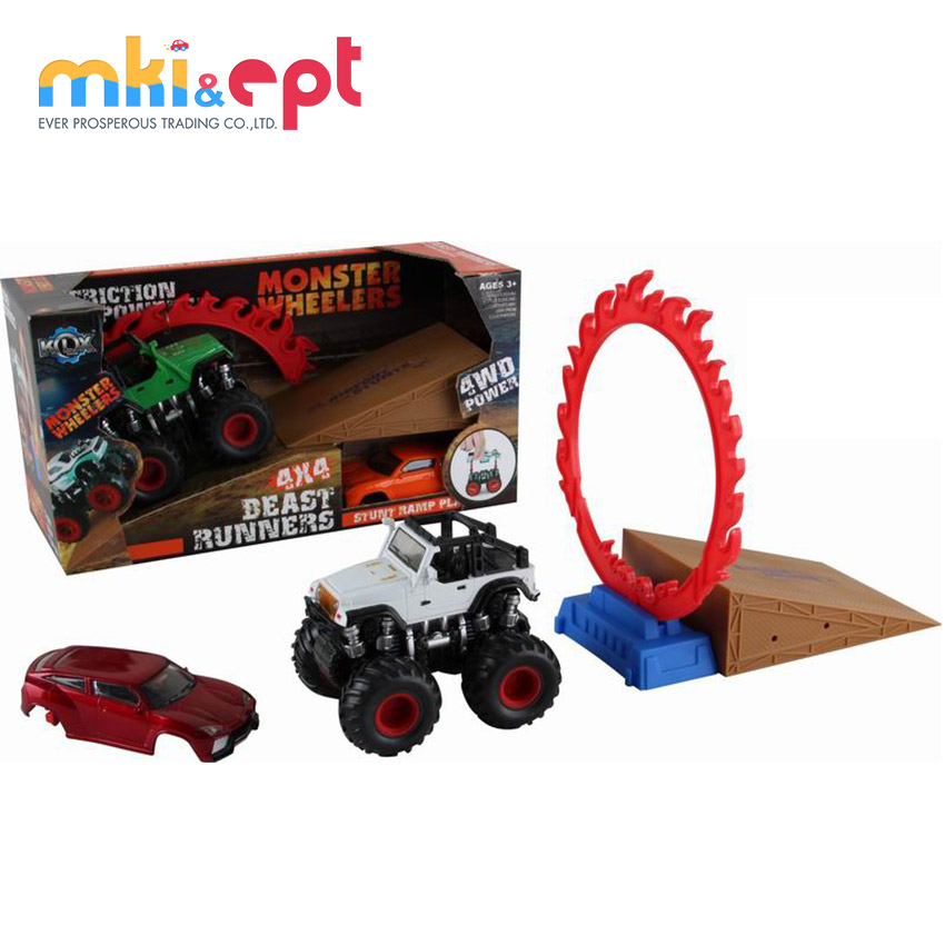 Powerful friction stunt truck car toy with car shell and springboard