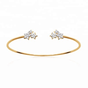 Best selling funky silver star cuff bangle for women