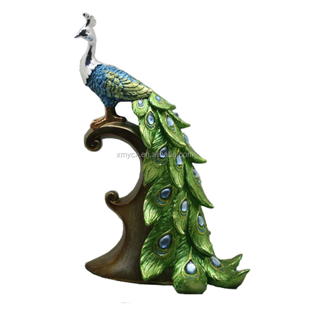 Resin Crafts/Animal Figurines/Colorful Peacock Statues Wholesale