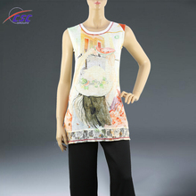 ODM and OEM Service ladies soft Sublimation Printing lace stitching women tops