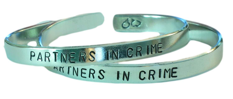 PARTNERS IN CRIME - Hand Stamped Aluminum Cuff Bracelets Set, Forever Love, Friendship, Bff Gift, Handwritten Font Version