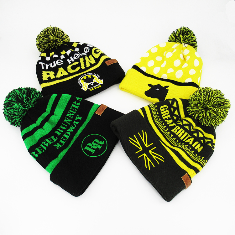 Learned Plain Blank Striped Cuffed Rastafari Colors Beanie Pom Pom Knit Thick Hat Toque Sporting Goods
