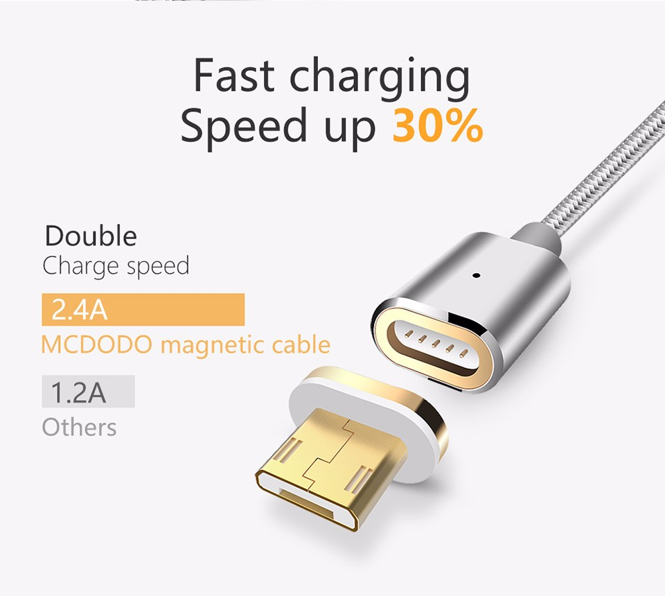 2.4A fast charging micro usb magnetic cable charger for android