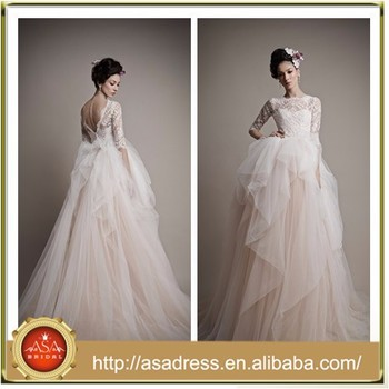 Ba89 Newest 2017 Corset Top Tulle Half Sleeve Backless Puffy Princess Light Pink Ball Gown Lace
