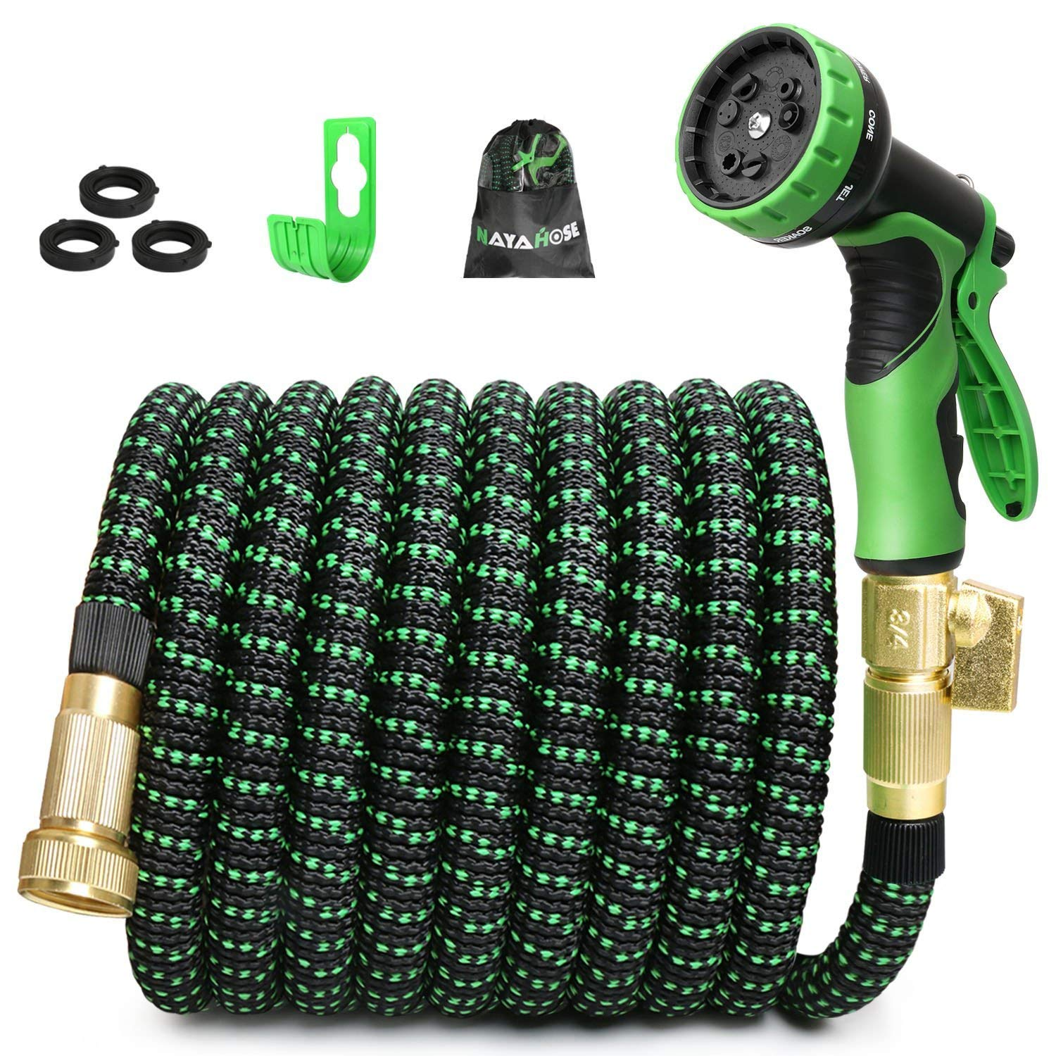 "NAYAHOSE 75ft Expandable Garden Hose,Expanding Water Hose with 3/4"" Solid Brass, 75' Expandable Hose Outdoor Gardening Hose with 9 Function Nozzle, Flexible Lightweight Hose Yard Hoses, No-Kink"