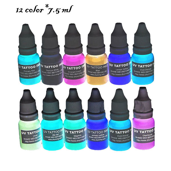12 Color 3 Oz Mini Tattoo Ink Set,Black Light Glitter Tattoo Ink ...