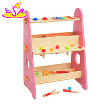 New educational building play pink wooden kids tool set with customize W03D087