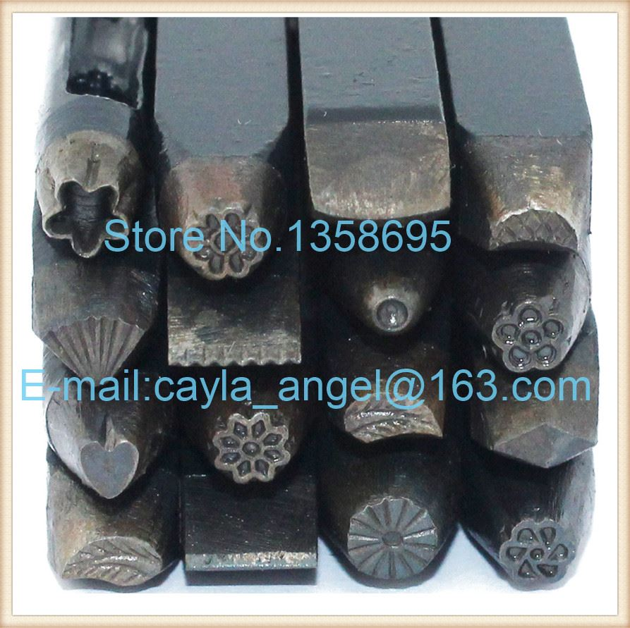 Metal Anvil Assorted Punches for Jewelry Punches Carved Flower Temporarily Golden Chisel Jewelry Tools and Equipment for DIY