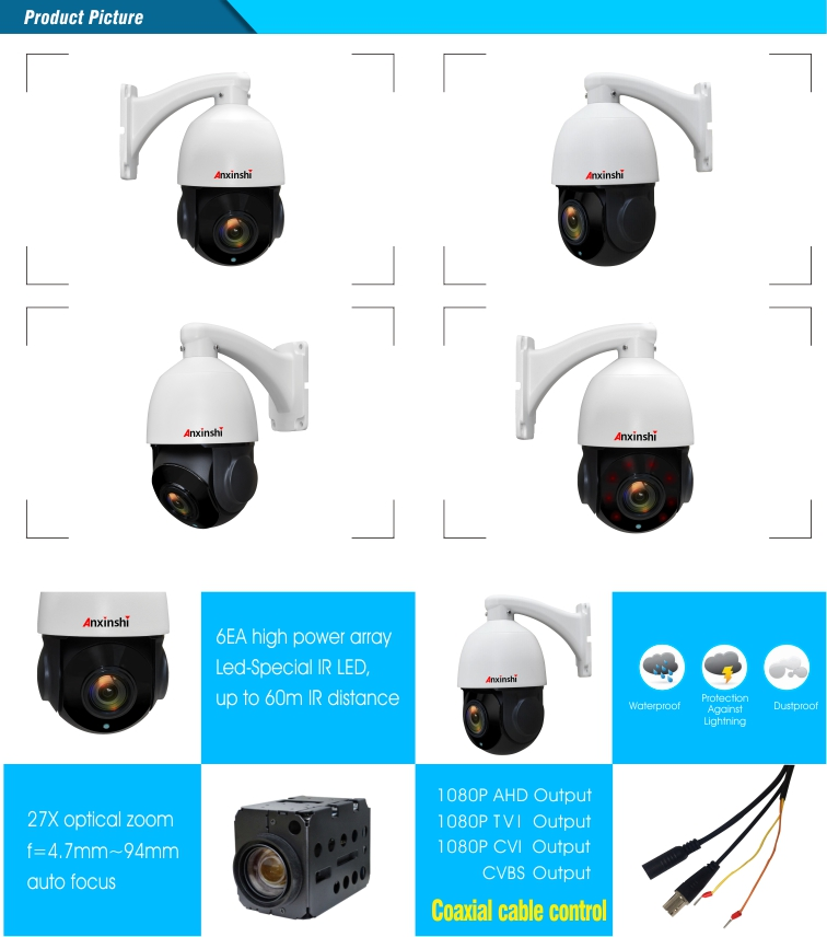 2.0MP 4in1 Pan/Tilt /Zoom Technology Surveillance Camera Waterproof/Wheather proof Features DWDR Mini PTZ Camera Distributor