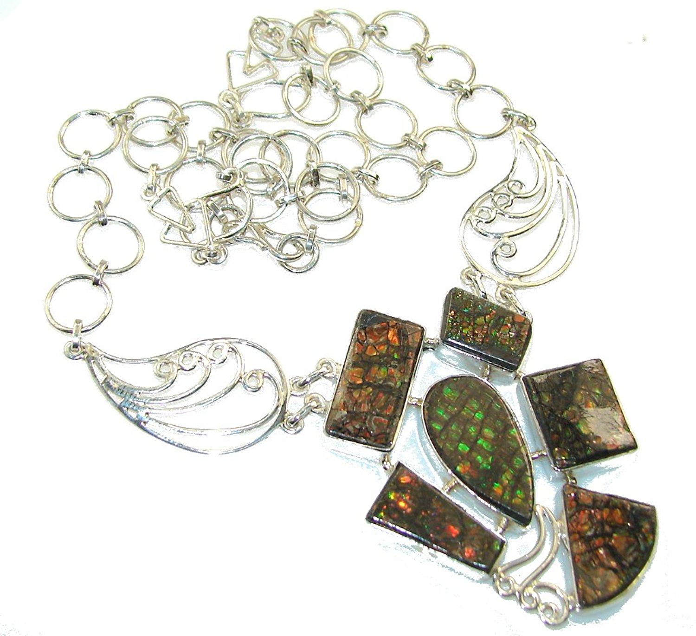 FREE GIFT BOX Ammolite Women 925 Sterling Silver Pendant