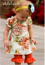 CONICE NINI brand latest design flower printing dress top baby girls orange pants clothing sets