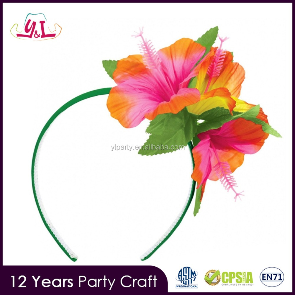 New Premium 2017 Hawaiian Beach Party Luau Headband Hibiscus Flower
