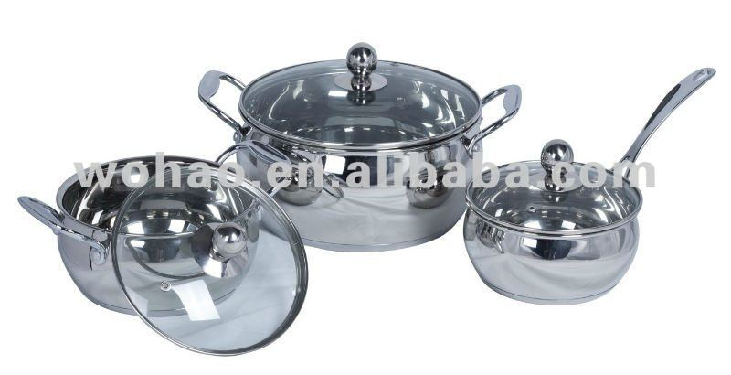 6pcc Stainless steel apple pots, core bottom, capsule bottom