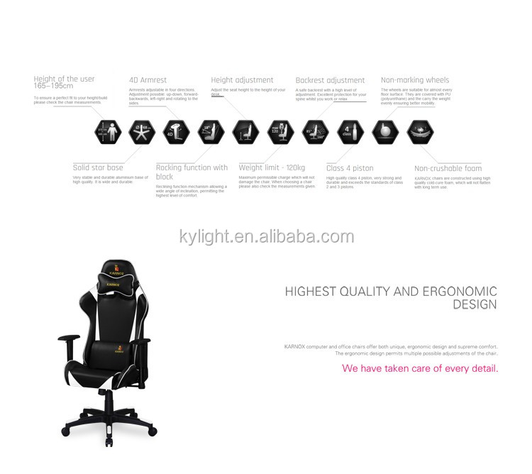 New Arrival Adjustable Swivel Reclining High Back Computer Gaming Chair
