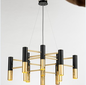 Moden 13 led black and copper color matching designers designed the metal cylinder chandelier