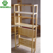 4 tiers wood folding commercial display shelf W-BC-8017A