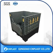 Electronics Industry Heavy Duty Folding Plastic Bulk Container With Ventilated Floor