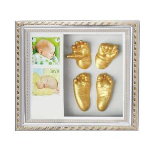 3D Plaster Handprints Footprints with Wooden Photo Frame for Baby First Year