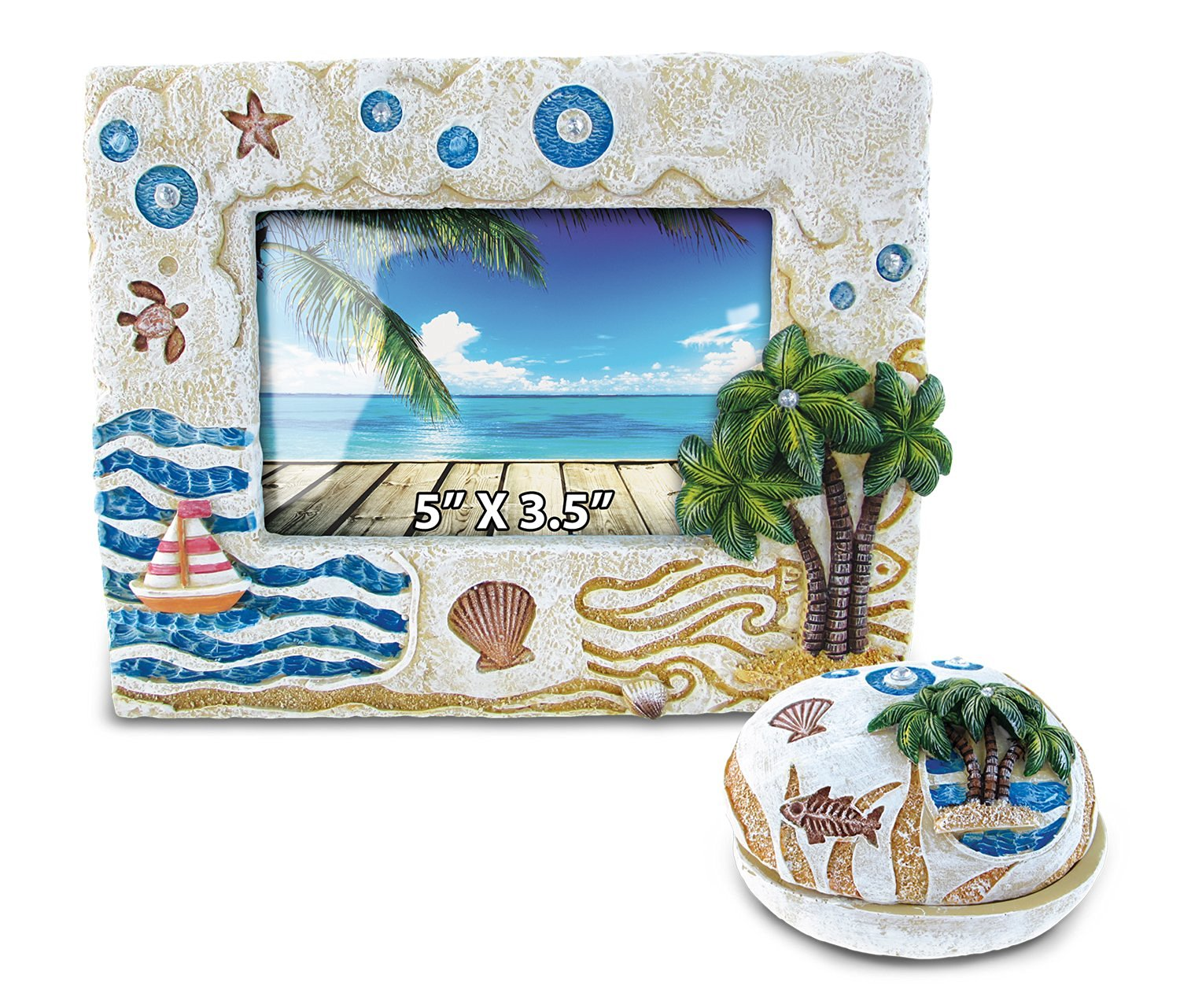 Puzzled Palm Tree Resin Stone Finish Collection including Picture/Photo Frame, and Jewelry Box - Picture Size 5 by 3 - Unique Elegant Gift and Souvenir