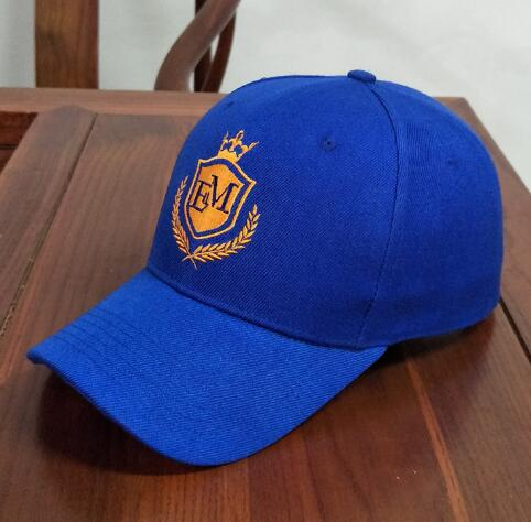 Customized Logo Embroidered 100% Cotton Blue 6 Panels Promotional Baseball Cap