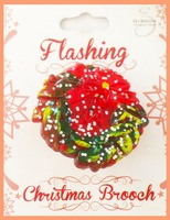 Online shopping plastic glitter craft and art christmas wreath LED flashing pin
