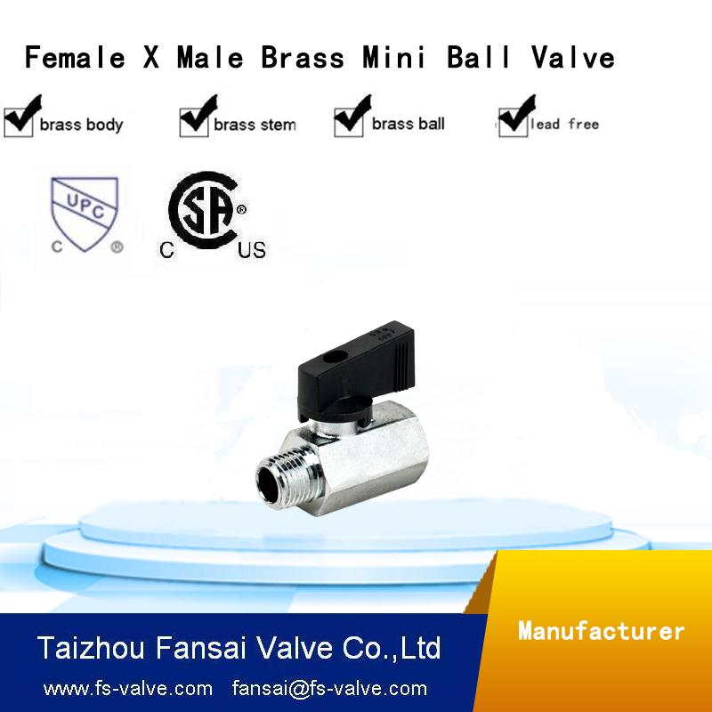 "no lead brass forged mini cock 1/4"" female ball valve"