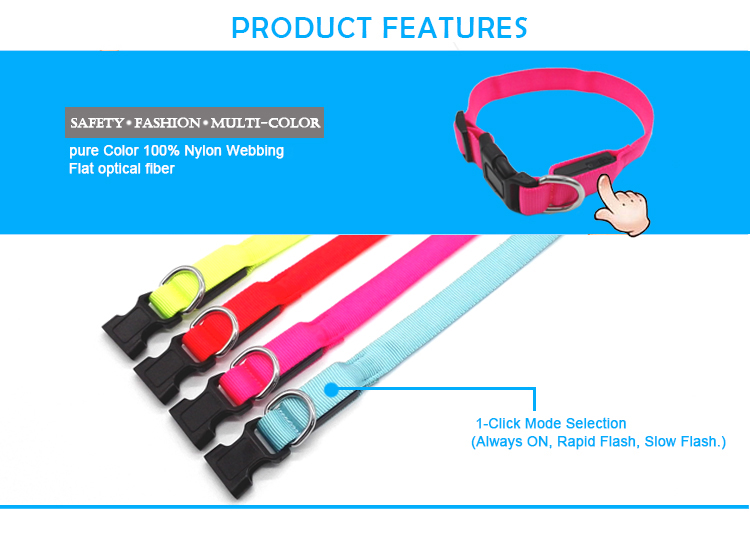 Pet Protective Collar Soft and Pliable Wholesale Nylon Adjustable Rechargeable Dog Led Flashing Dog Collar