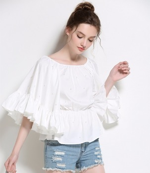 2c853ba9be6b5c Summer Fashion Puff Sleeve Blouse Shirts New Design Beaded Off Shoulder  Loose Tops