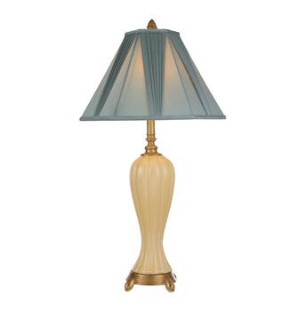 Blue Fabric Lamp Shade Antique Bronze Beige Chinese Ceramic Table