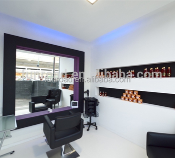Hair Salon Mirror And Working Table Design Barber Interior Chairs Beauty Decoration